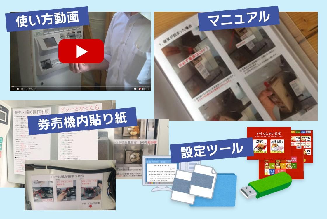 使い方動画、マニュアル、券売機内貼り紙、設定ツール