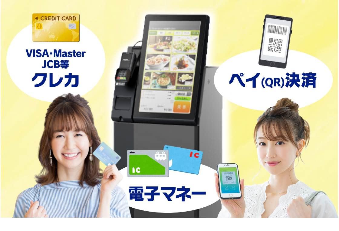 キャッシュレス券売機ならクレカ・電子マネー・ペイ決済(QR決済)まで様々な決済に対応
